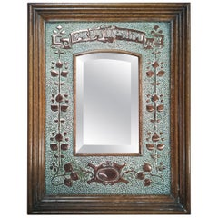 Liberty Style Arts & Craft Oak and Copper Mirror with Motto, Look But Linger Not