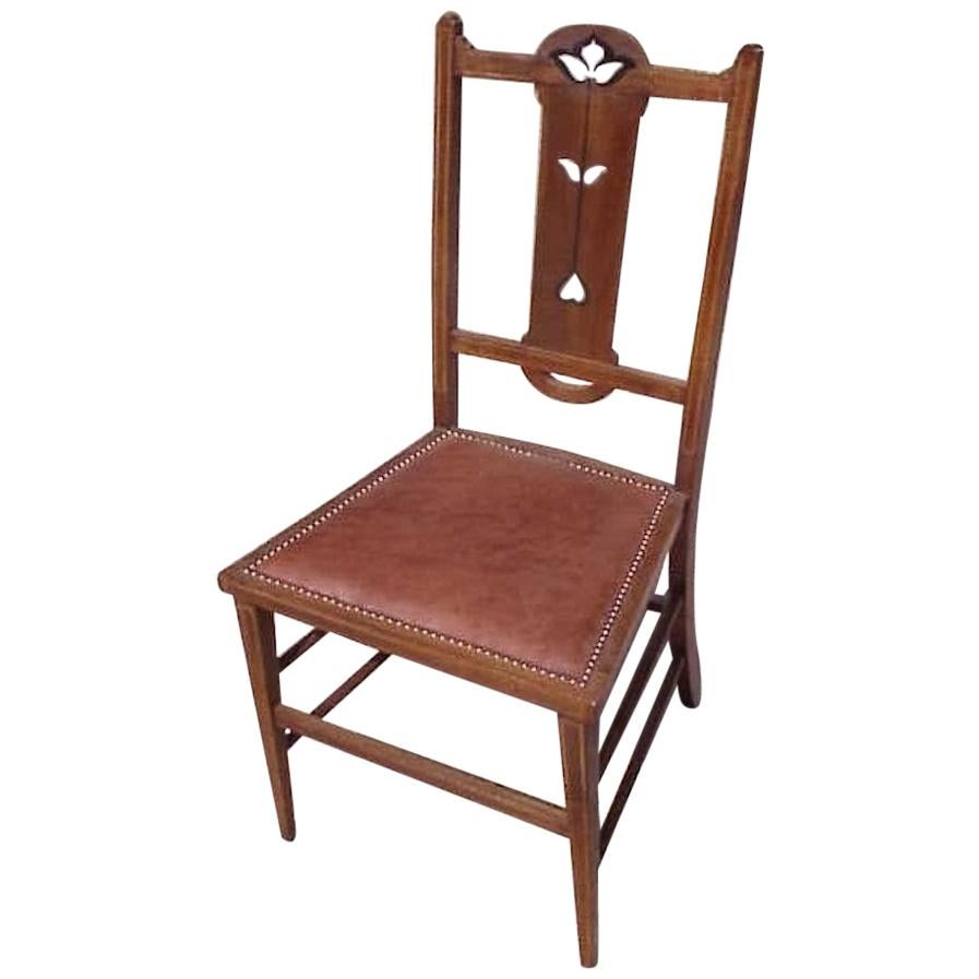 Liberty Style, Arts & Crafts Oak Bedroom Chair with Pewter & Ebony Floral Inlays