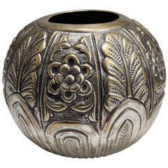 Liberty Style Embossed Brass Vase, Italy