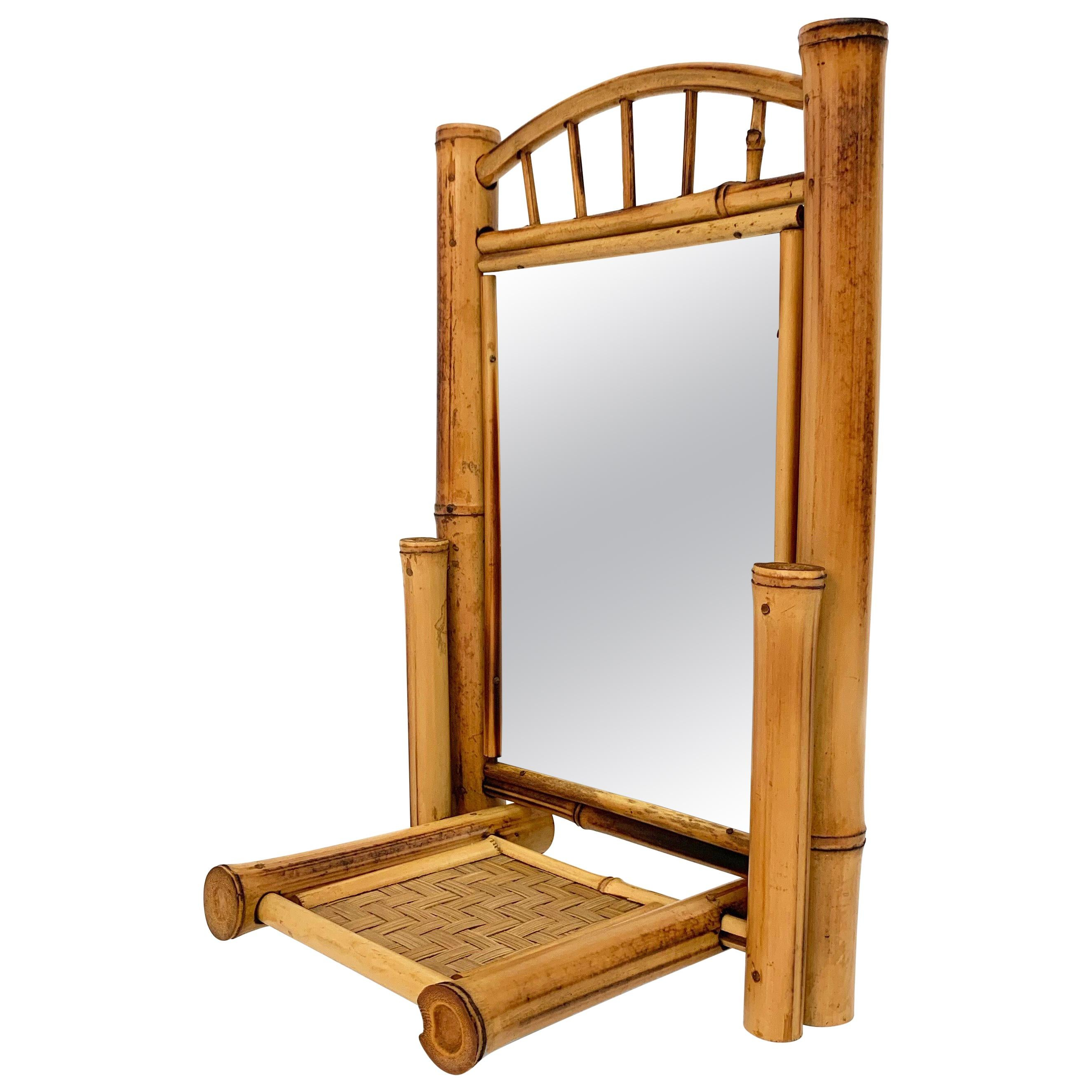 Liberty Table Mirror, Bamboo, Rattan and Wood, Foldable, France, 1920s