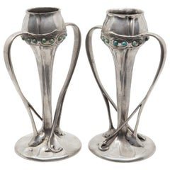 Liberty Tudric Art Nouveau Pewter Vases with Enameled Cabochon Jewels circa 1920
