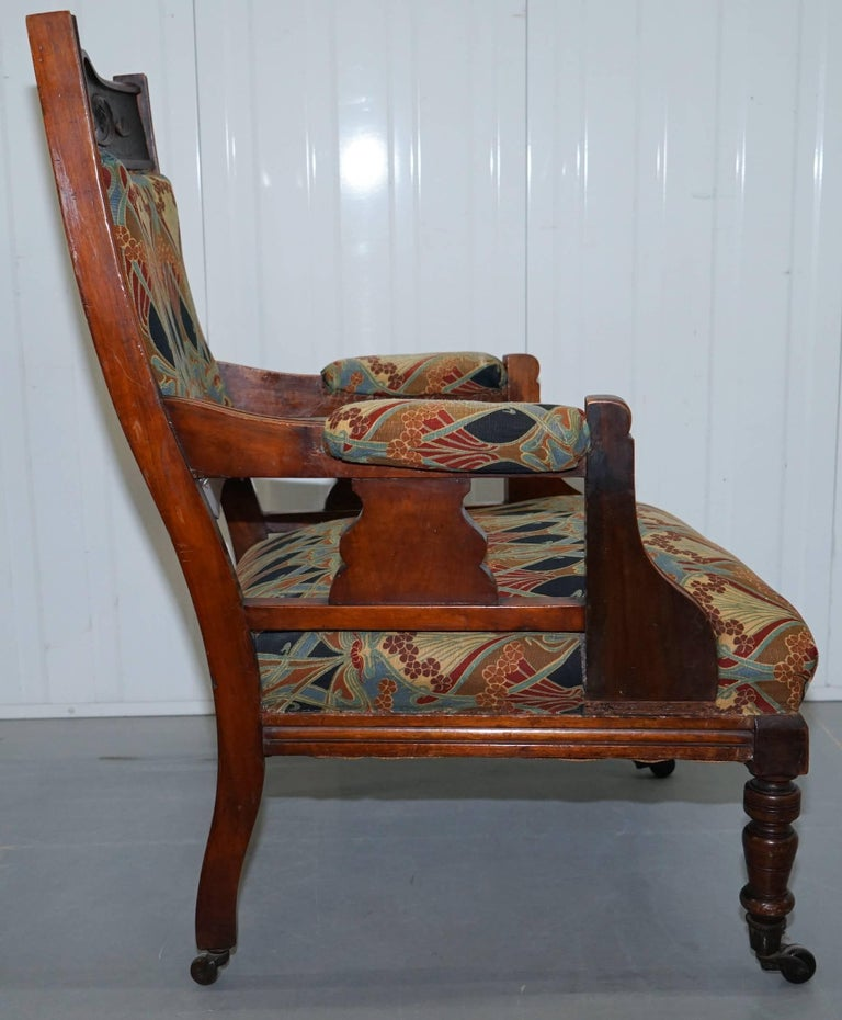 Libertys London Ianthe Upholstery Victorian Walnut Library Reading Armchair Lion For Sale 4