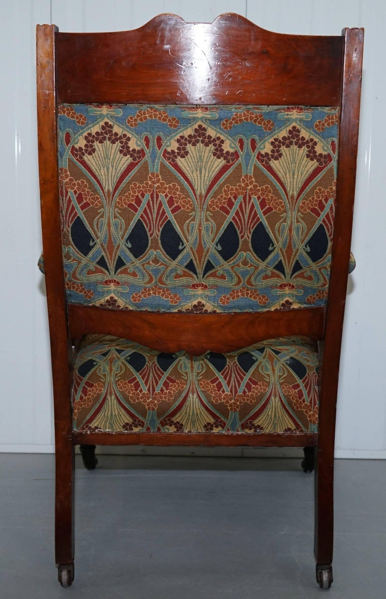 Libertys London Ianthe Upholstery Victorian Walnut Library Reading Armchair Lion For Sale 5