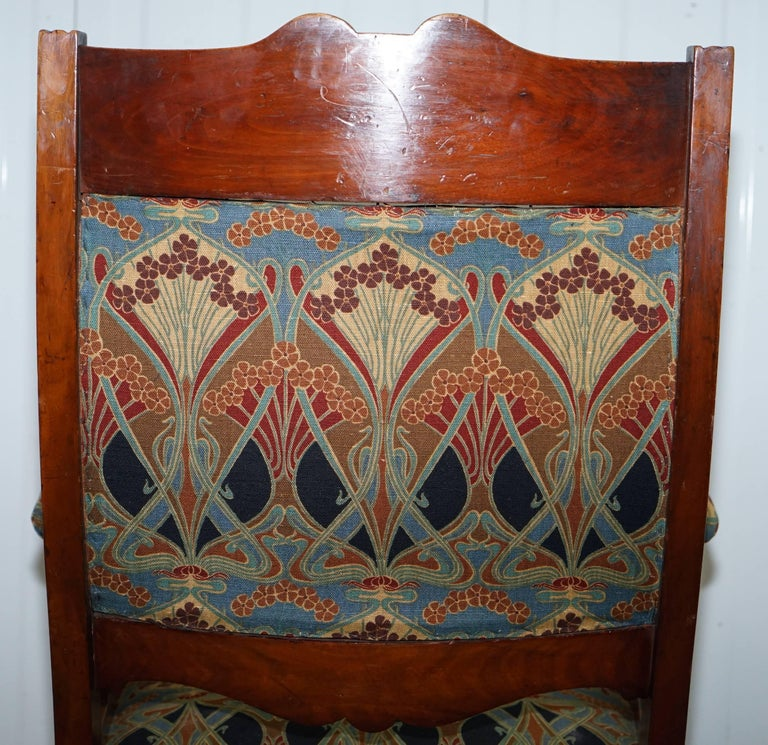 Libertys London Ianthe Upholstery Victorian Walnut Library Reading Armchair Lion For Sale 6