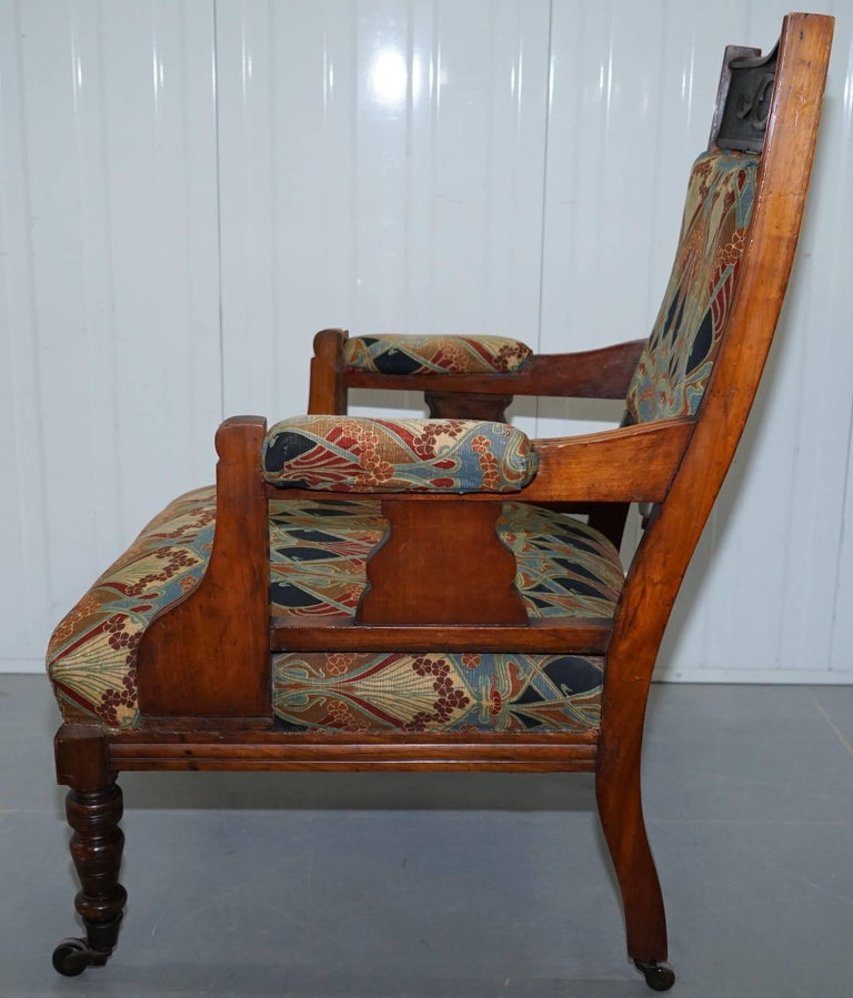 Libertys London Ianthe Upholstery Victorian Walnut Library Reading Armchair Lion For Sale 8