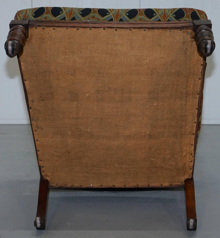 Libertys London Ianthe Upholstery Victorian Walnut Library Reading Armchair Lion For Sale 10