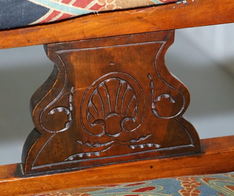 Libertys London Ianthe Upholstery Victorian Walnut Library Reading Armchair Lion In Fair Condition For Sale In London, GB