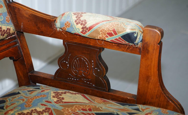 19th Century Libertys London Ianthe Upholstery Victorian Walnut Library Reading Armchair Lion For Sale