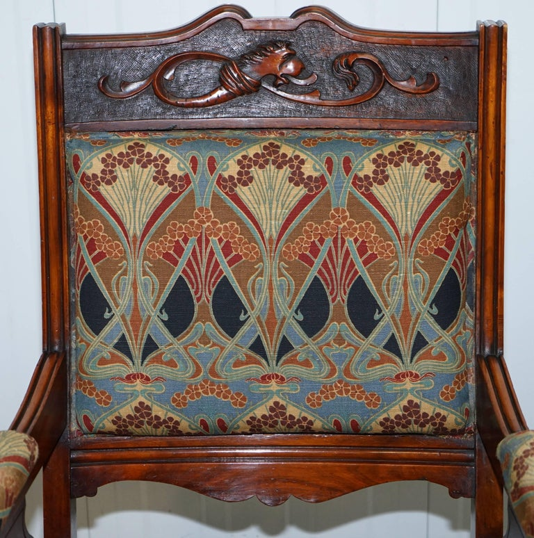 Fabric Libertys London Ianthe Upholstery Victorian Walnut Library Reading Armchair Lion For Sale