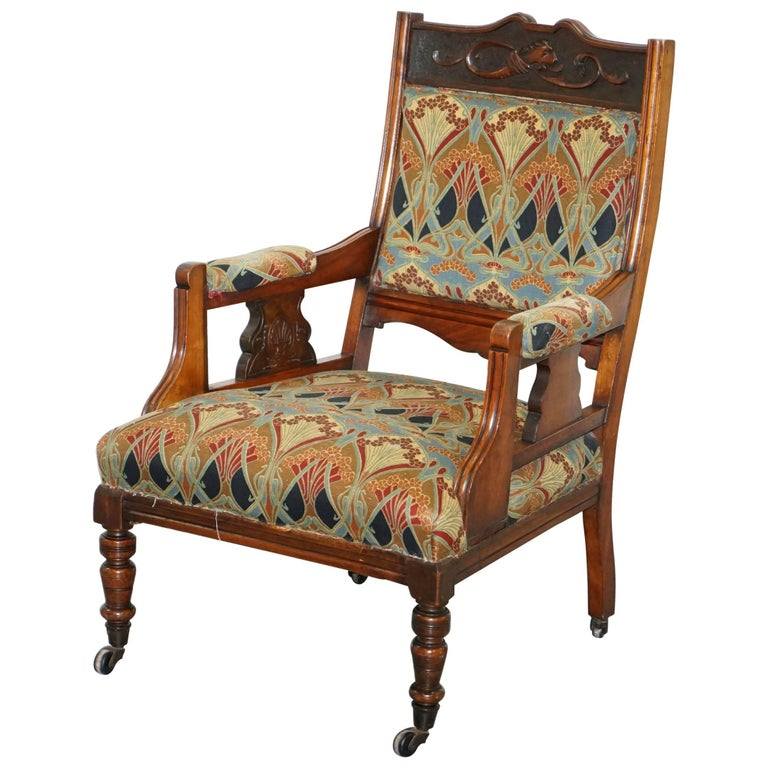 Libertys London Ianthe Upholstery Victorian Walnut Library Reading Armchair Lion For Sale