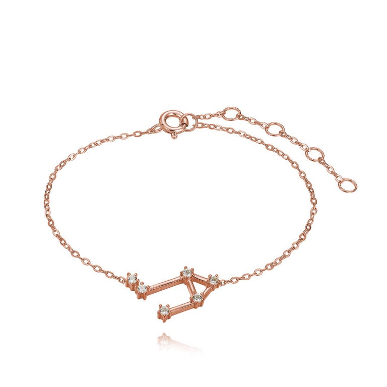 You are unique and your zodiac tells part of your story.  How your zodiac is displayed in the beautiful nighttime sky is what we want you to carry with you always. This libra constellation bracelet shares a part of your personality with us all  .925