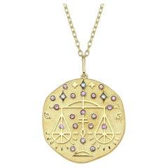 Libra Zodiac Charm Necklace, Lucky Stone Diamond and Tourmaline 14K Yellow Gold