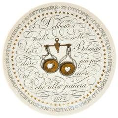 Libra, Zodiac Plate Series by Piero Fornasetti, 1972