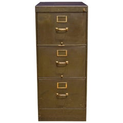 Library Bureau Sole Makers Army Green Steel and Brass File Cabinet, circa 1940