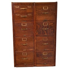 Library Bureau Sole Makers Quarter Sawn Oak Double File Cabinet