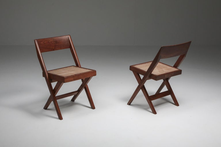 Pierre Jeanneret, library chair, a pair, India, 1952-1965  H.C 14 / 33, 43, 47, 79 Meaning chairs nr 33, 43, 47, 79 for Room 14 of the High Court of Chandigarh It's a rare feat to have the chairs perfectly identifiable.  Another interesting