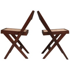 Library Chair by Pierre Jeanneret, a Pair