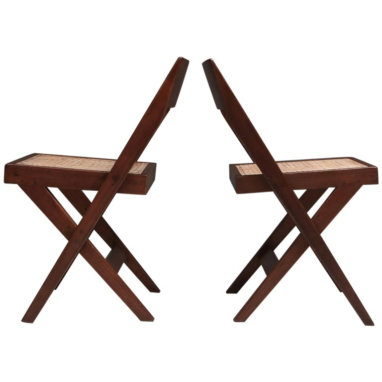 Library Chair by Pierre Jeanneret, a Pair For Sale