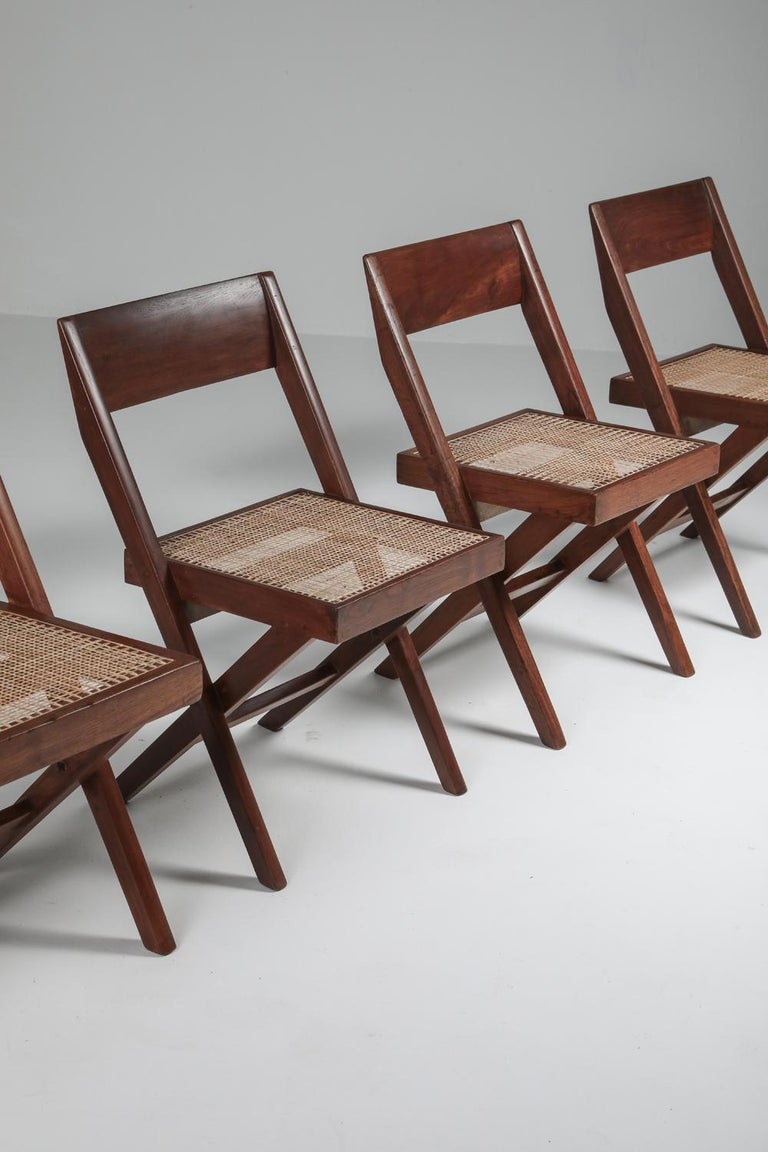 Library Chair by Pierre Jeanneret, Set of Four For Sale 7