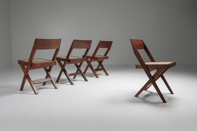 Pierre Jeanneret, library chair, set of four, India, 1952-1965  H.C 14 / 33, 43, 47, 79 Meaning chairs nr 33, 43, 47, 79 for Room 14 of the High Court of Chandigarh It's a rare feat to have the chairs perfectly identifiable.  Another