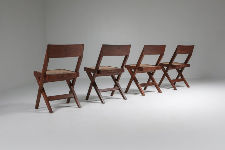 Mid-Century Modern Library Chair by Pierre Jeanneret, Set of Four For Sale