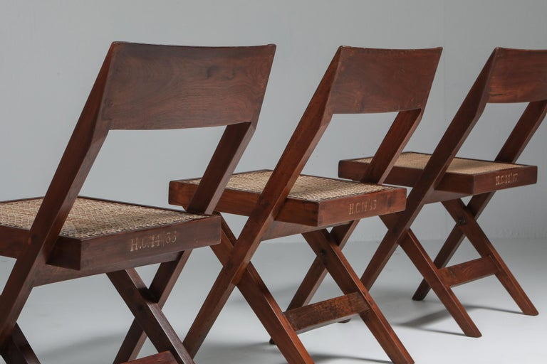 Indian Library Chair by Pierre Jeanneret, Set of Four For Sale