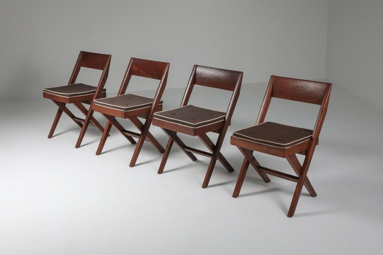 Library Chair by Pierre Jeanneret, Set of Four In Good Condition For Sale In Antwerp, BE