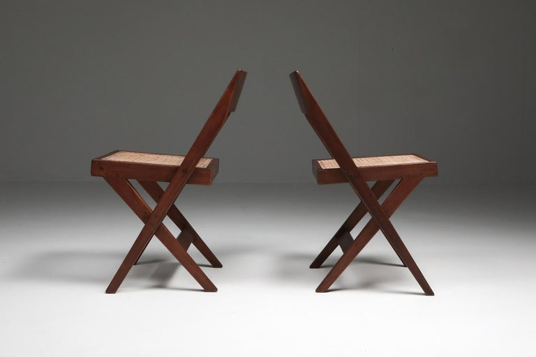 20th Century Library Chair by Pierre Jeanneret, Set of Four For Sale