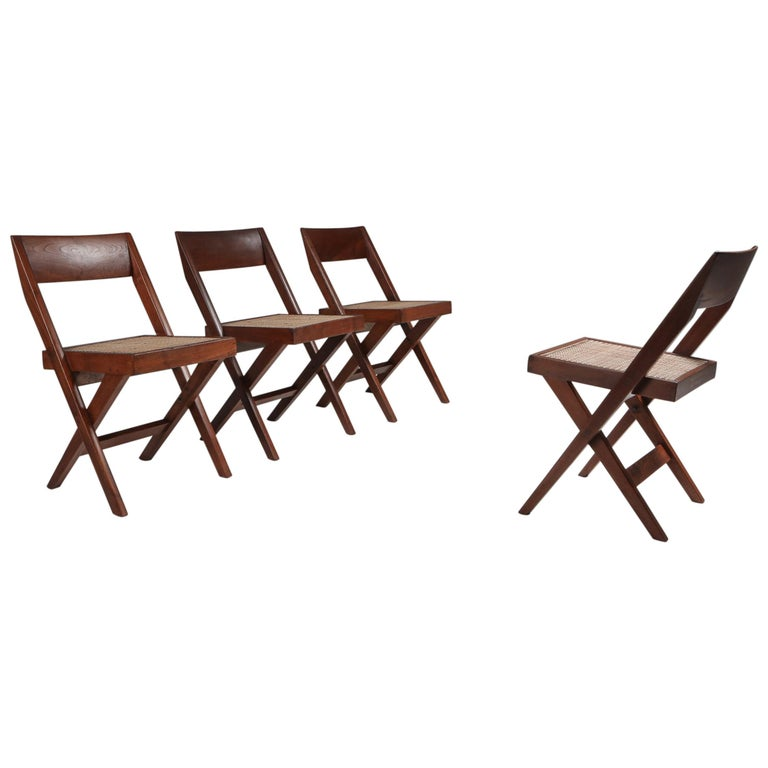 Library Chair by Pierre Jeanneret, Set of Four For Sale