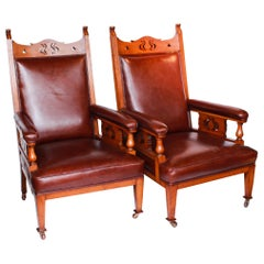 A Pair of Arts & Craft's Library Chairs Solid Oak Upholstery in Chestnut Leather