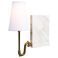Library Sconce, Contemporary Bookshelf Sconce in Marble, Raw Brass