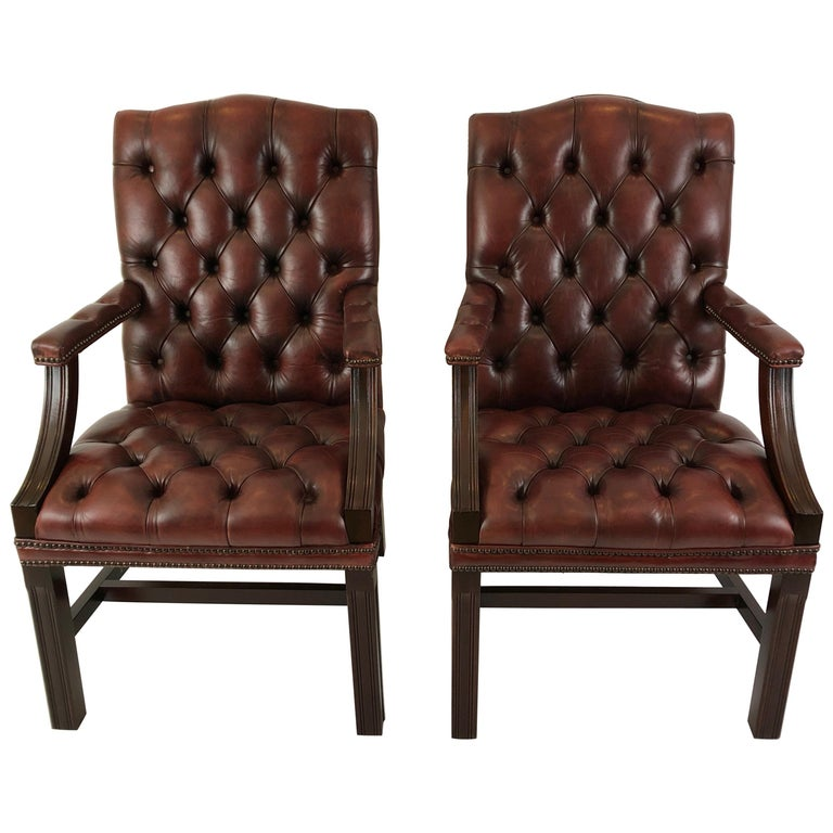 Libraryish Pair of Chesterfield Sumptuous Tufted Leather ...
