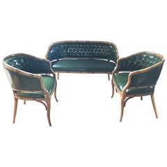 Libraryish Set of Three-Piece Green Tufted Faux Leather and Bamboo Salon Suite