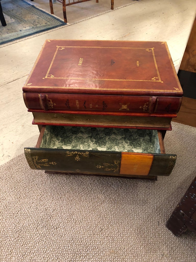 American Libraryish Tromp l'Oeil Book Motif End Table Chest For Sale