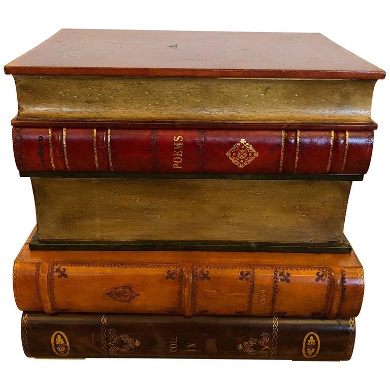 Libraryish Tromp l'Oeil Book Motif End Table Chest For Sale