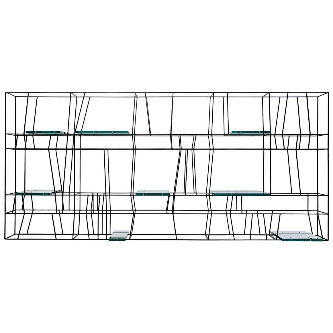 ARCHIVIO Bookcase in Painted Metal with Glass Shelves by Dimoremilano