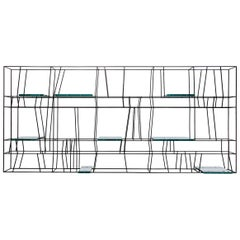 Libreria 003 Bookcase in Painted Metal with Glass Shelves by Dimoremilano