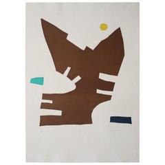 """Libru"" Original Bauhaus Artist Linocut Print, Signed Werner Graeff"