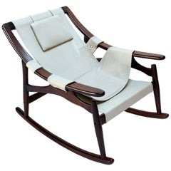 Liceu de Arte Brazilian Jacaranda Wood Rocking Chair in Beige Leather, 1960s