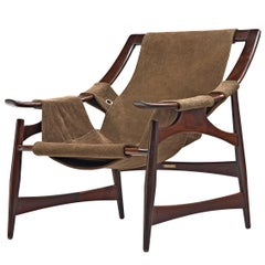 Liceu De Artes Sao Paulo Lounge Chair in Imbuia and Brown Suede