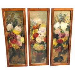 Licinio Barzanti Art Nouveau Triptych of Paintings Made in Italy in 1900