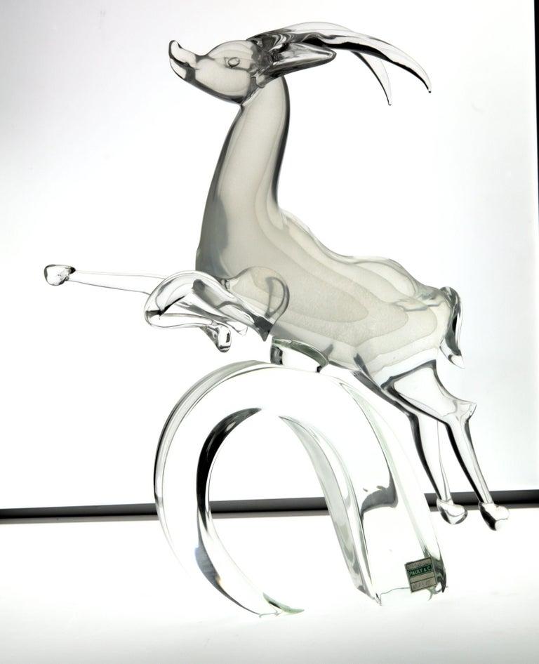 Hand-Crafted Licio Zanetti for Pauly Ibex Leaping Balsamo Stella Design, Murano 1990s, Signed For Sale