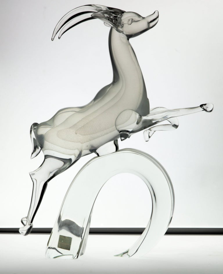 20th Century Licio Zanetti for Pauly Ibex Leaping Balsamo Stella Design, Murano 1990s, Signed For Sale