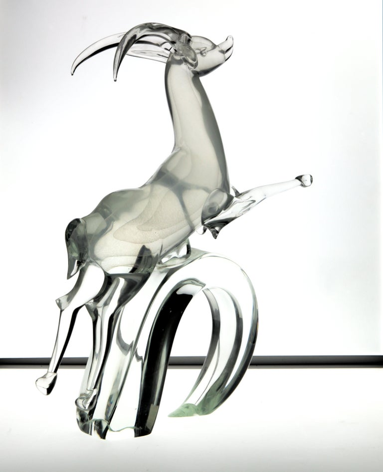 Licio Zanetti for Pauly Ibex Leaping Balsamo Stella Design, Murano 1990s, Signed For Sale 1