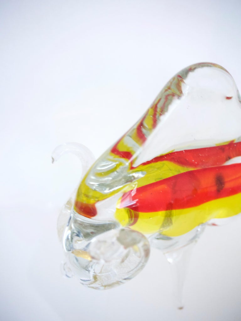 Late 20th Century Licio Zanetti Large Murano Bull Sculpture with Red and Yellow Inclusions, 1970 For Sale
