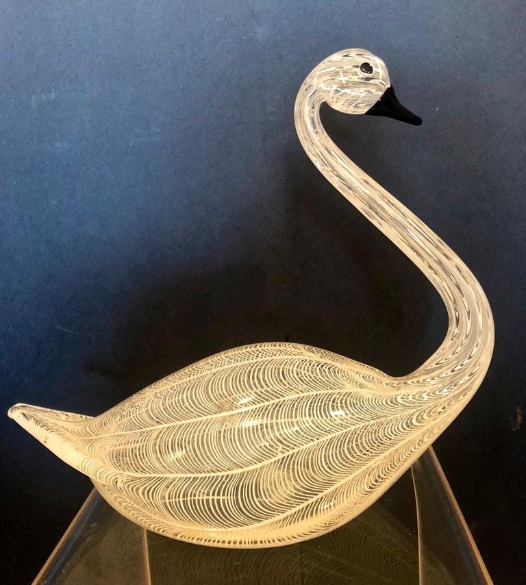 Large Swan Murano Glass By Licio Zanetti  - Beige Figurative Sculpture by Licio Zanetti