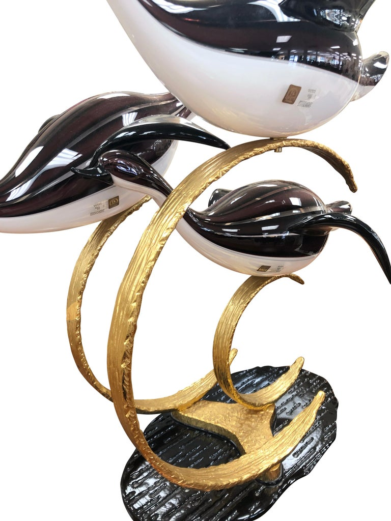 Three Geese Flying Art Glass Sculpture For Sale 1