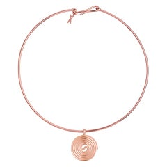 Licorice Choker, 9 Karat Rose Gold Choker Pendant Necklace