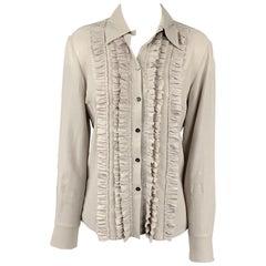 LIDA BADAY Size 6 Grey & Silver Silk Ruffled Blouse