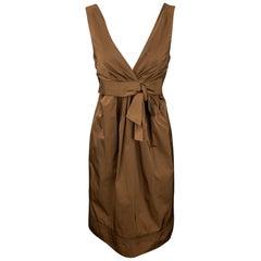LIDA BADAY Size 8 Brown Polyester Sleeveless Sheath Dress
